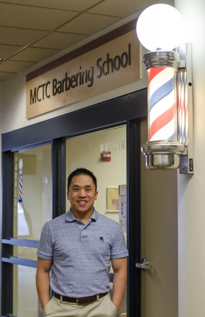 Barbering Instructor Josh Kirkpatrick was once a student in MCTC's same program.