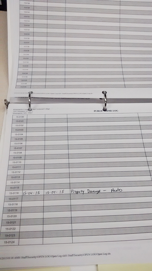 The partially filled log incident log kept by Public Safety on April 20. (Photo: Alison Bergblom Johnson/City College News)