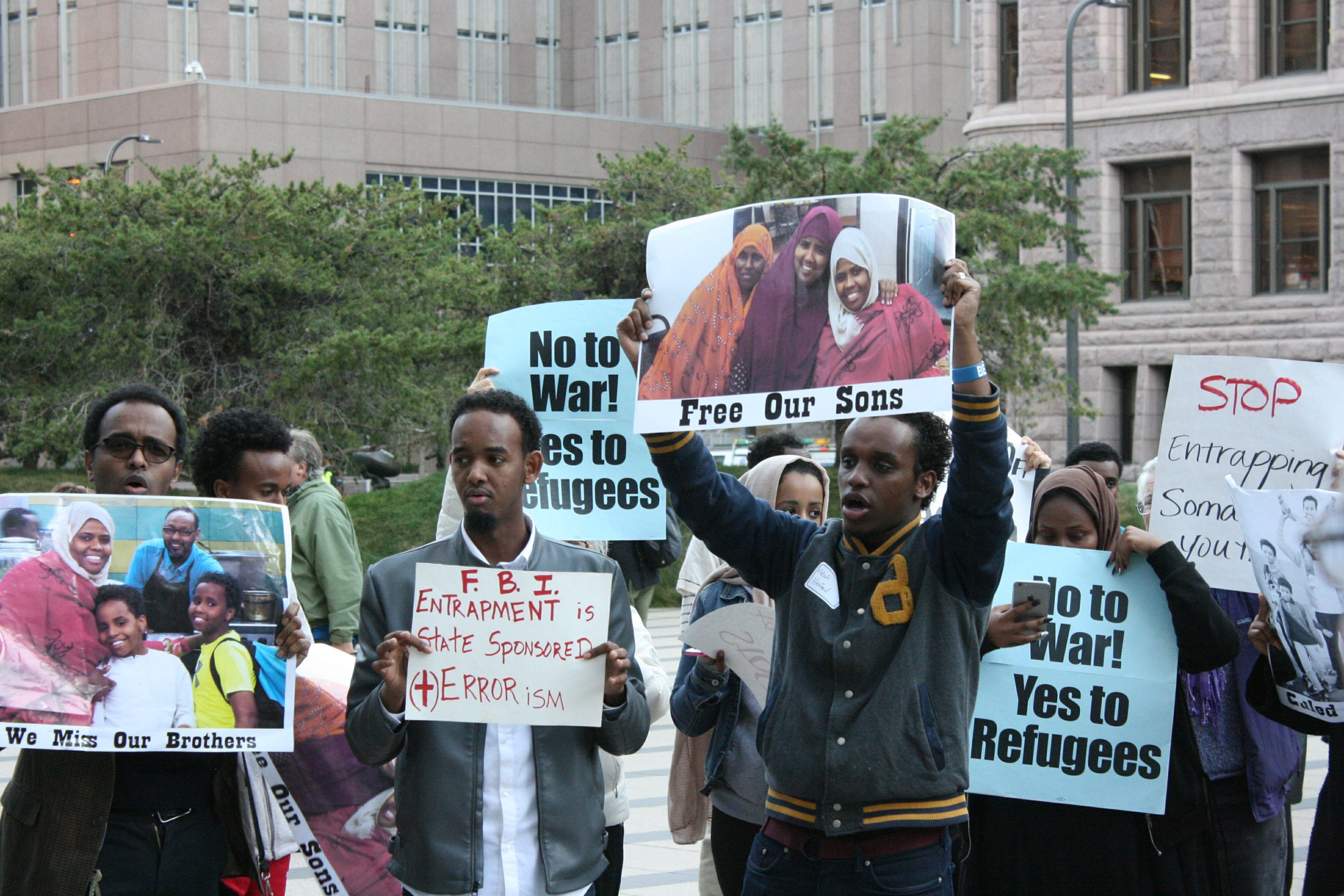 Community activists hold press conference and rally in defense of Somali youth following recent sentencing