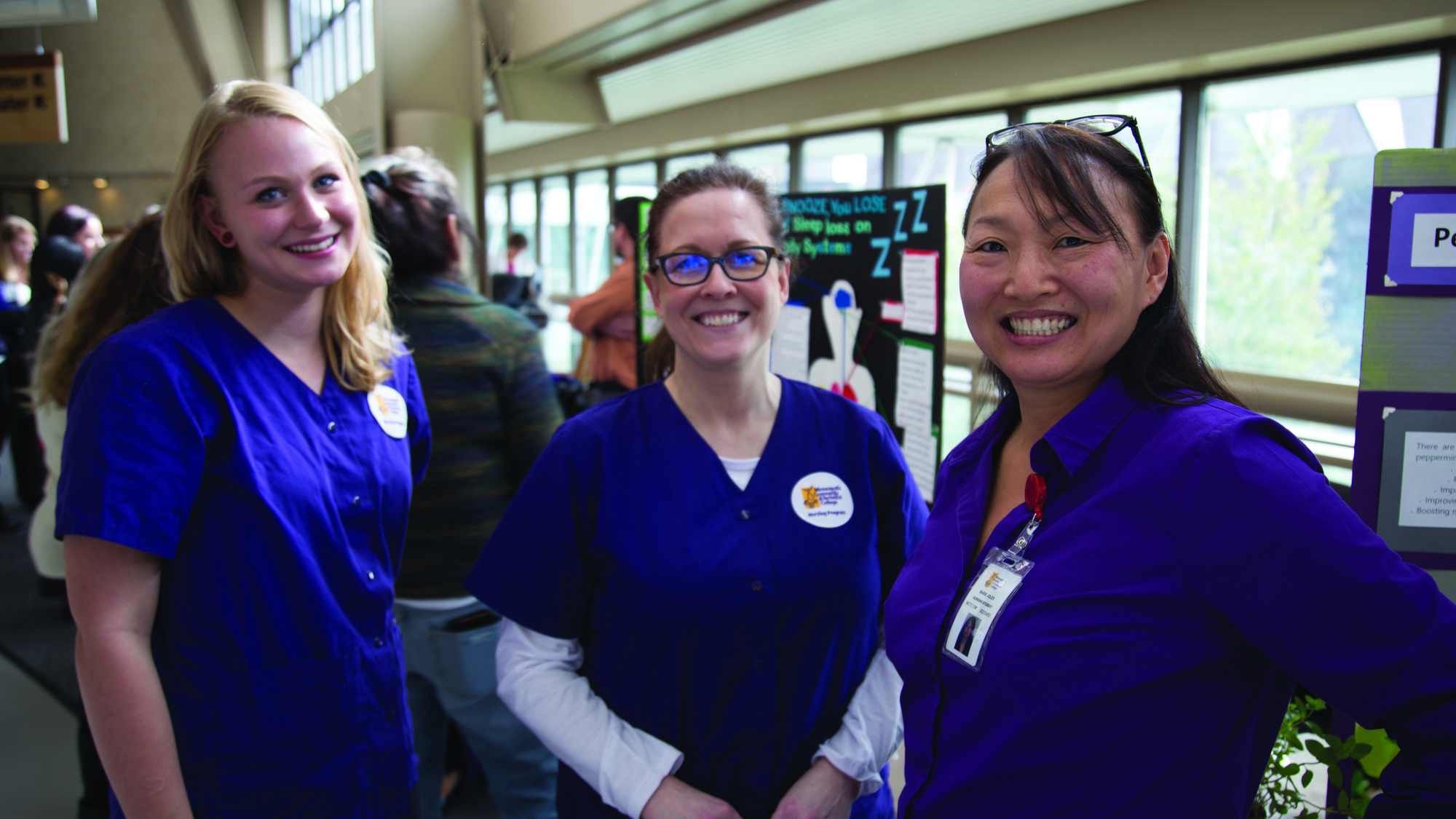 Nursing students Sarah Fagerness, Michelle Matzek, and Marie Joles were helping and handing out health educational materials. Photo credit: Kathryn Chadbourn
