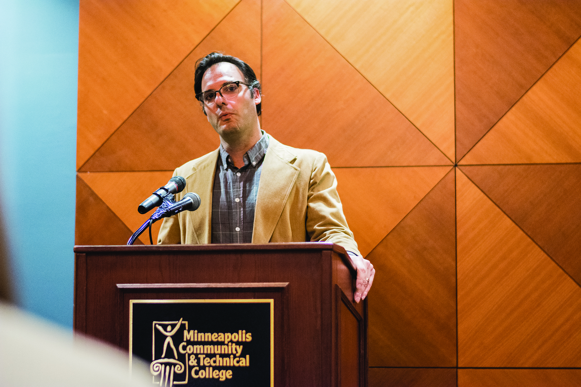 Professor Matthew Palombo from the philosophy department said it was important to bring Socialist Action to MCTC. Photo credit: Benjamin Pecka
