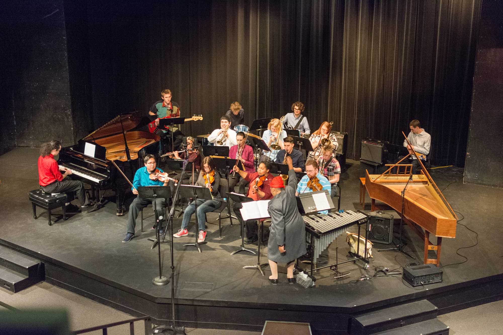 The chamber and jazz ensembles combined to close the concert with 'Smooth' by Itaal Shur and Rob Thomas. Photo credit: Benjamin Pecka
