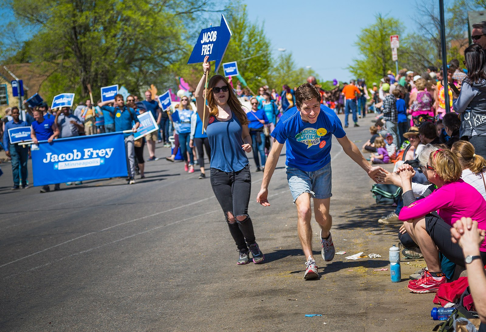 Jacob Frey campaigns in a parade. Photo credit: Wikimedia Commons