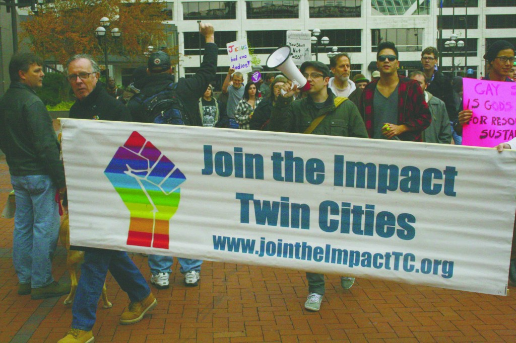 PRIDE, an MCTC student group marched last sunday on a mission to fight for gay rights. (photograph by: Bjorn Hunstad)