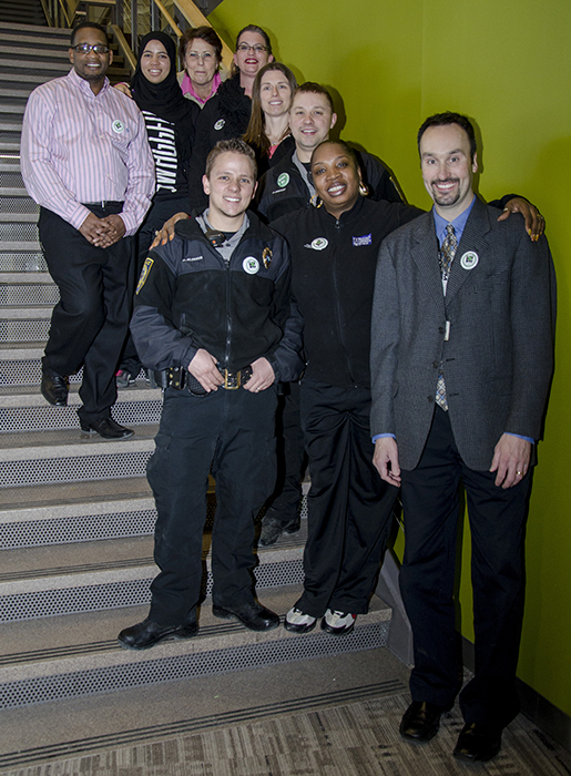 Student members of Green Dot pose with Public Safety in the Helland Center. (Photo: Sydney Foster/City College News)