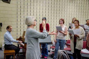 Choir Director Liz Pauly directing at the Choir Retreat at MCTC on Sept. 19, 2015. Photo by Sydney Foster/City College News