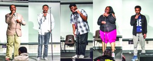 "Minneapolis, MN, 11/22/2016, Students perform at the MCTC Talent Show, from left to right: Robel ""Ol Brown Eyes"" Tedros, Johhny AKA ""Blessed"", Lamar Colquitt, Becky Moore, & Ben (Andrew Bickford, MCTC) Photo credit: Andrew Bickford"