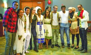 Ethiopian Club Officers: President Tsion Beyene-Math Major, V.P. Lidiya Zewdle-Math Major , Secretary Walelign Kebede-Math Major, Treasure Tamirat Ali-Biology Major, Eliyas and Abdi and many friends make up the club.  Photo by Kathryn Chadbourn