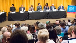 Candidates for Minneapolis mayor debate business police at a forum in June. Photo credit: Benjamin Pecka