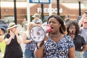 Levy-Pounds speaks during a third day of demonstrations protesting the Jeromino Yanez verdict in June. Yanez is the police officer who shot and killed Philando Castille. Photo credit: Benjamin Pecka