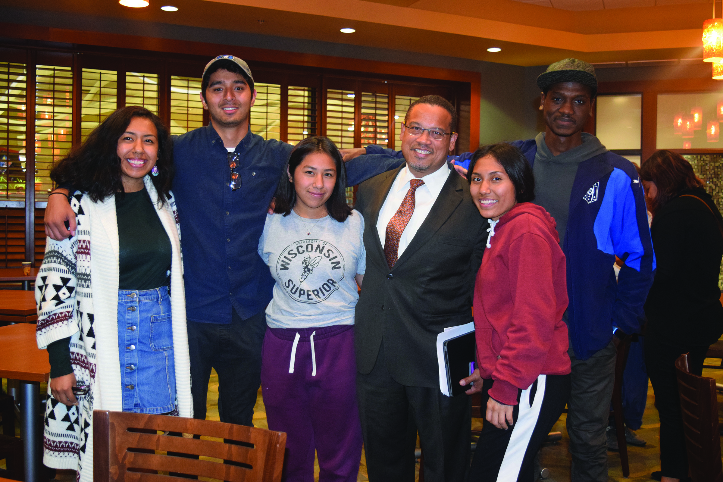 Keith Ellison stopped to greet XLU club on his way out. Photo credit: Emily Lazear