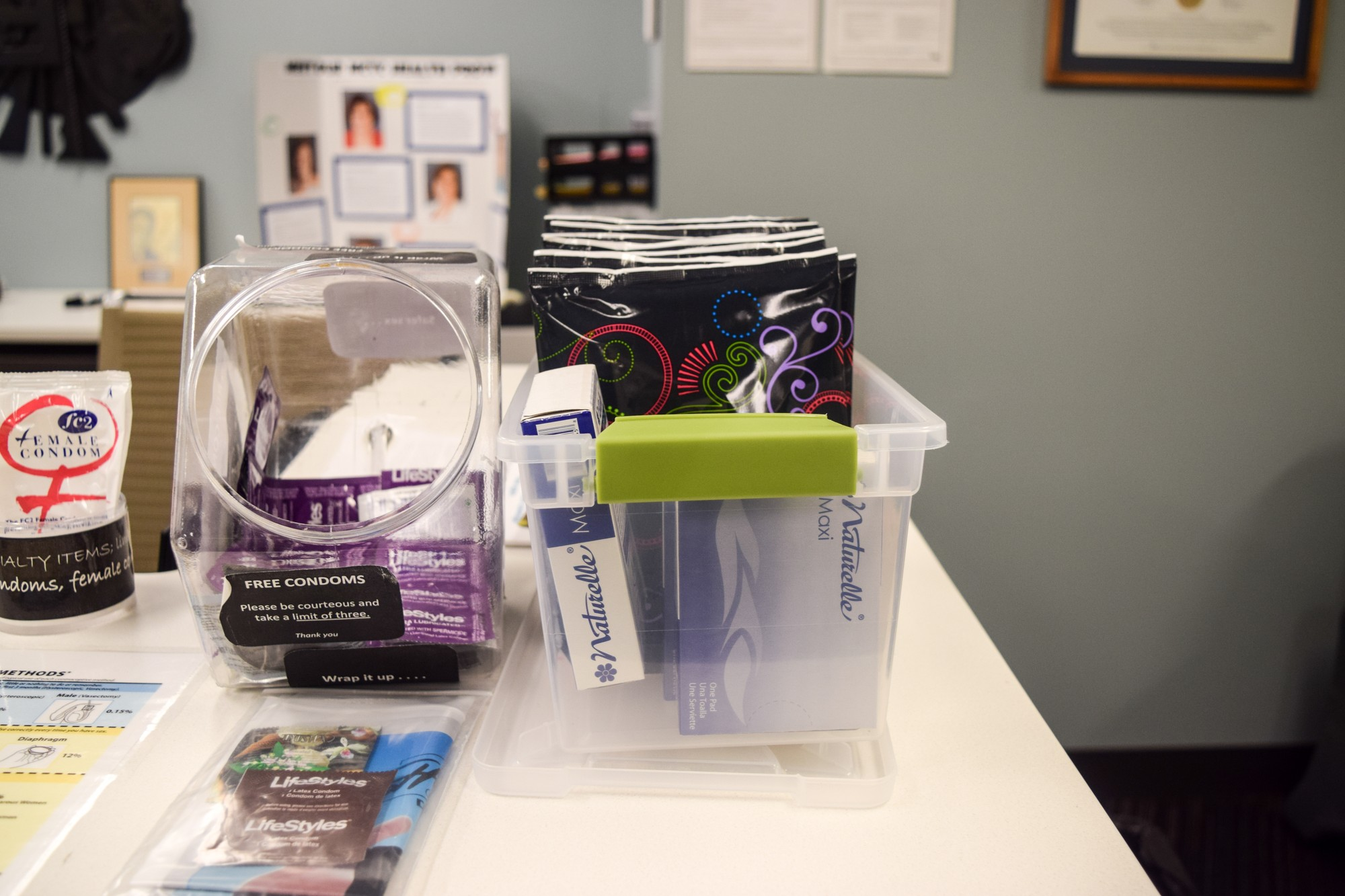 The Boynton Health Clinic has free supplies at their front desk for anyone to take. Photo credit: Emily Lazear