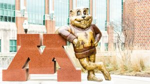 University of Minnesota's mascot Goldy Gopher stands outside Coffman Memorial Union. Photo credit: Benjamin Pecka