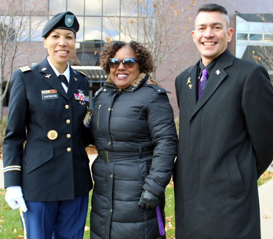 From Right - Miki Huntington, Lieutenant Colonel U.S. Army, Retired, President of Minneapolis College Dr. Sharon Pierce, Master of Ceremonies Al Ramos