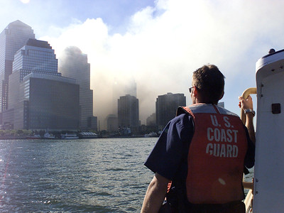 NEW YORK, New York (Sept. 11, 2001)--Coast Guard crew members patrol the harbor after the collapse of the World Trade Center.